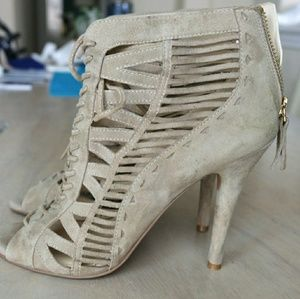 Nine West suede ankle open toe shoes